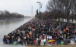 A crowd gathers at the Mall in Washington D.C.