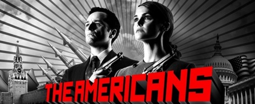The Americans promo art: Philip and Elizabeth Jennings in the style of a propaganda poster