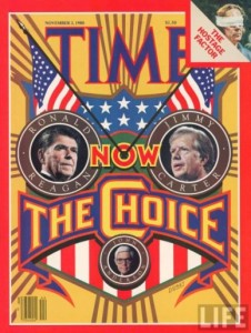 Time Magazine's cover for the 1980 presidential election between Reagan and Carter.