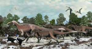 "A group of Yutyrannus, a close relative of T. rex, which were found with evidence of ""dinofuzz""."