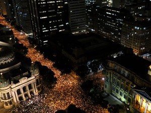 An estimated 300,000  people protest in downtown Rio de Janeiro on July 20th