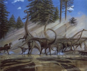 <em>Diplodocus</em> herd fending off a river ambush by <em>Allosaurus</em> (by Greg Paul)